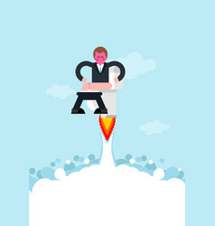guy on toilet rocket with turbine is flying jet wc vector image
