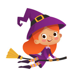 Halloween redhead flying little witch girl kid in vector