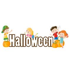 Halloween theme with kids and pumpkins vector