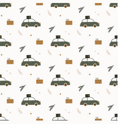 hand drawn seamless pattern with car gift boxes vector image