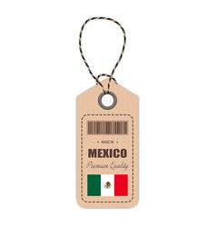 hang tag made in mexico with flag icon isolated on vector image