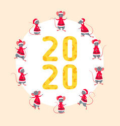 Happy new year 2020 with symbol rats figures from vector