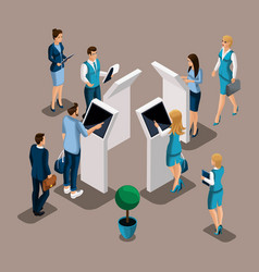 Isometric turn of customers near atms self-servic vector