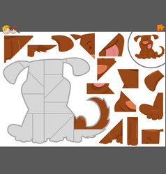 Jigsaw puzzle game with cute dog vector