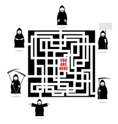 Labyrinth of life Life ends with death In any vector