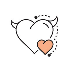 Line icon style heart devil color design vector