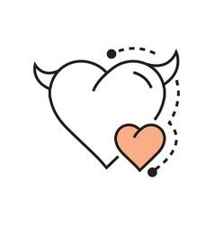 line icon style heart devil color design vector image