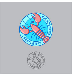 Logo lobster seafood restaurant vector
