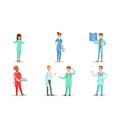 male and female doctors set hospital medical vector image