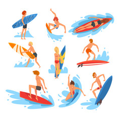 male and female surfers characters riding waves vector image