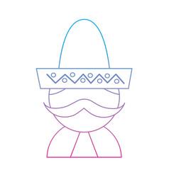 man with sombrero mexico culture icon image vector image