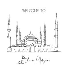 One single line drawing blue mosque landmark vector