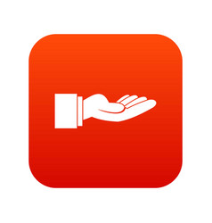 Outstretched hand gesture icon digital red vector