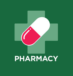 Pill or capsule and cross drugstore and pharmacy vector