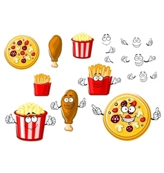 Pizza chicken leg french fries and popcorn vector