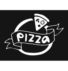 Pizza flat icon logo template vector