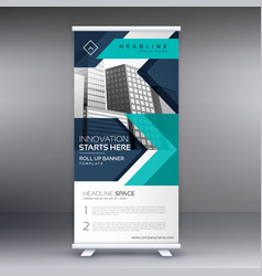 Presentation roll up display banner vector