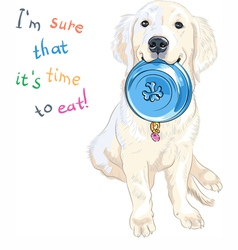 puppy dog Labrador Retriever with bowl for food vector image