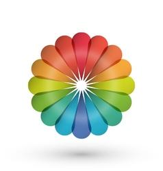Rainbow flower balloon logo vector image