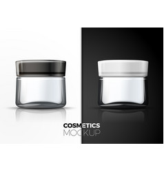 Realistic cream glass jar on table vector