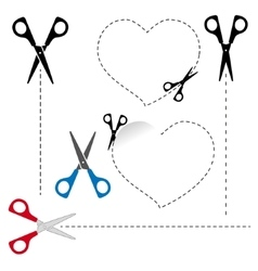 Scissors cut out the shape The dotted line vector