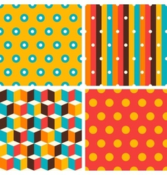 Seamless abstract retro geometric patterns set vector