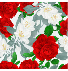 seamless texture rose red and leaves and jasmine vector image