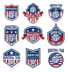 Set american basketball team labels emblems vector