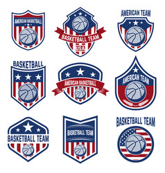 Set of american basketball team labels emblems vector