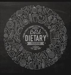 Set of cartoon doodle diet food objects vector