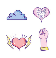 Set of girl powers icons vector
