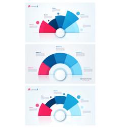 set stylish pie chart circle infographic vector image