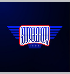 sport emblem typography super boy hero logotype vector image