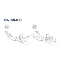 Swimmers exercise girl fitness home workout vector