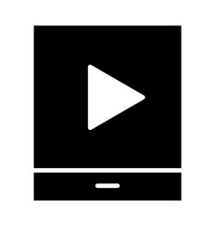tablet with play button silhouette icon vector image