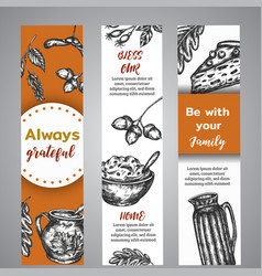 thanksgiving day banners collection of hand drawn vector image