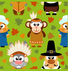 thanksgiving seamless background with funny vector image