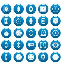 time and clock icons set blue simple style vector image