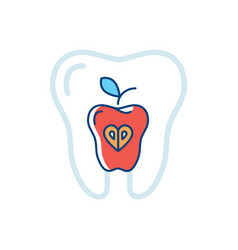 tooth health icon tooth and a red apple symbol vector image