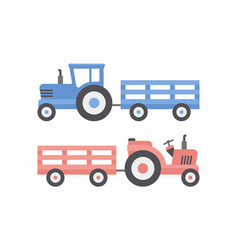Two tractor with trailer vector