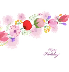 watercolor card with spring cherrys blossoms vector image