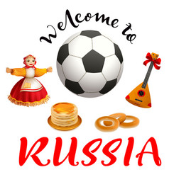 welcome to russia text set russian symbol and vector image