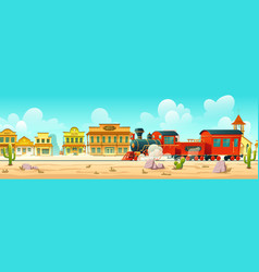 western town street and steam train vector image