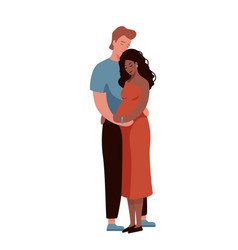 White man hugging and kissing pregnant afro vector