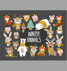 Winter woodland animals vector