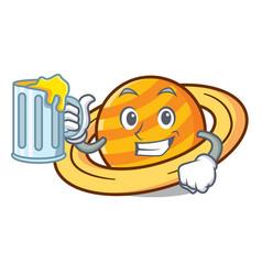 With juice planet saturnus mascot cartoon vector