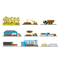 Wood production elements collection vector