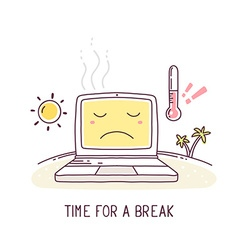 yellow color sad laptop with sun and ther vector image