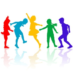 Colored silhouettes of happy children playing vector image vector image