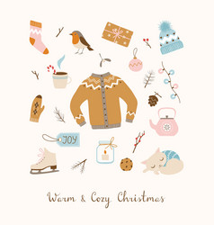 cozy christmas design elements vector image vector image